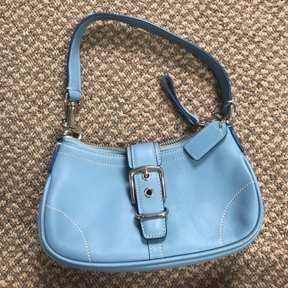 Coach Handbags - Authentic Blue Coach Buckle Mini Hampton Demi Bag